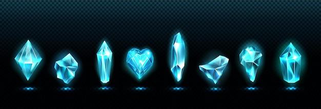 Wertvolle smaragdsteine, glänzend blaue glaskristalle Kostenlosen Vektoren