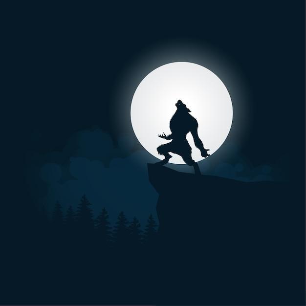 Werwolf-schattenbildhalloween-nachthintergrund Premium Vektoren