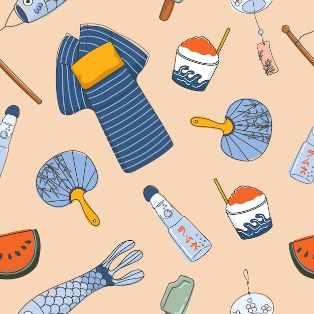 Wesentliche nahtlose muster des japanischen sommers Premium Vektoren