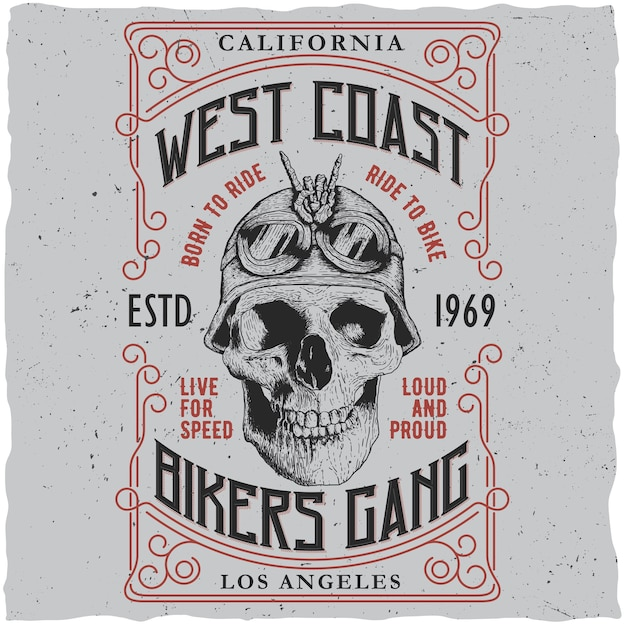West coast biker gang poster mit t-shirt design und schädel in motorrad helm illustration Kostenlosen Vektoren