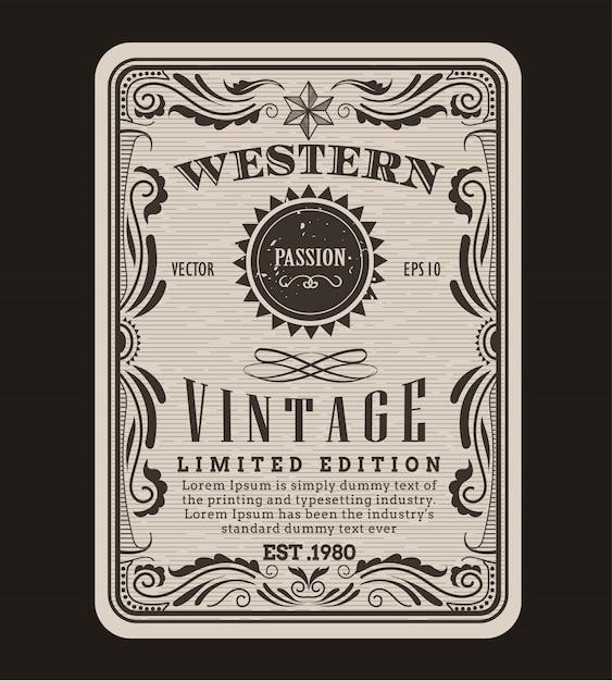 Western frame grenze vintage label Premium Vektoren