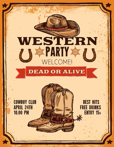 Western handgezeichnete poster Kostenlosen Vektoren