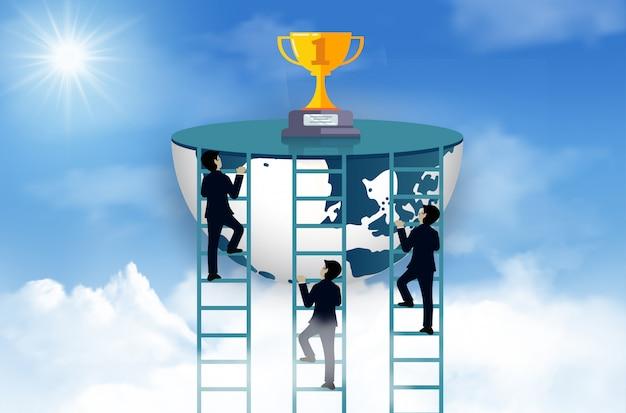 Wettbewerb mit drei geschäftsmännern klettern die leiter zum ziel auf der trophäe auf himmel. einer der leistungsstärksten sein Premium Vektoren