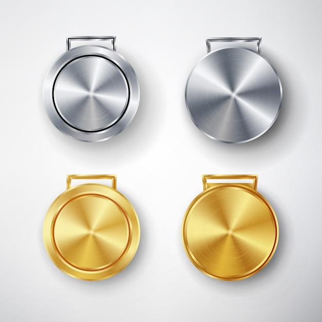 Wettbewerb spiele golden und silber medal set Premium Vektoren