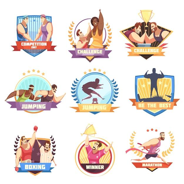 Wettbewerbsetikettensatz von neun flachen lokalisierten sportherausforderungsemblemen mit charakteren und zeichen des menschlichen athleten Kostenlosen Vektoren