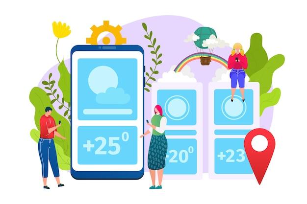Wetter app, vorhersage web widgets anwendungsvorlage, illustration. mobile schnittstelle mit wettersymbolen von sonne, wolke, temperatur und geografischem standort. meteorologielayout. Premium Vektoren