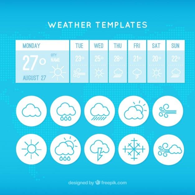 Wetter-app-vorlage mit symbolen Kostenlosen Vektoren
