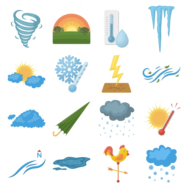 Wetter cartoon gesetztes symbol Premium Vektoren