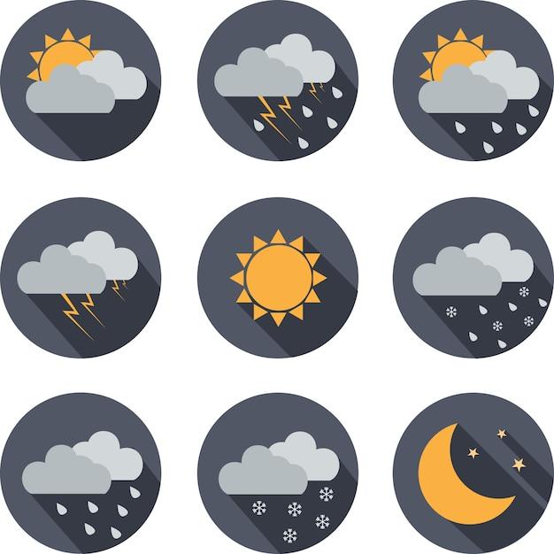 Wetter einfache ikone, flache illustration auf weißem hintergrund. design-label für website, internetseite und mobile anwendung. Premium Vektoren