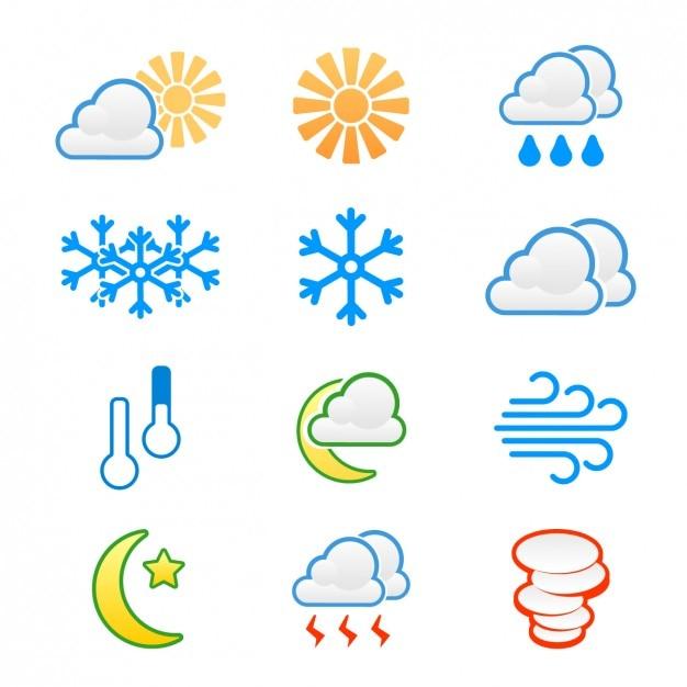 Wetter-ikonen eingestellt Kostenlosen Vektoren