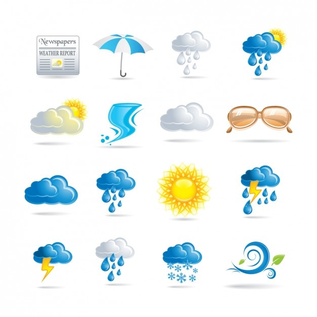 Wetter-ikonen-sammlung Kostenlosen Vektoren