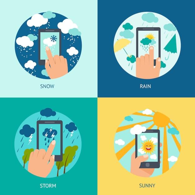 Wetter smartphone eingestellt Kostenlosen Vektoren