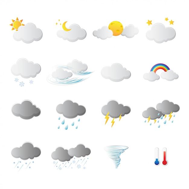 Wetter symbole zeichen und symbol Premium Vektoren