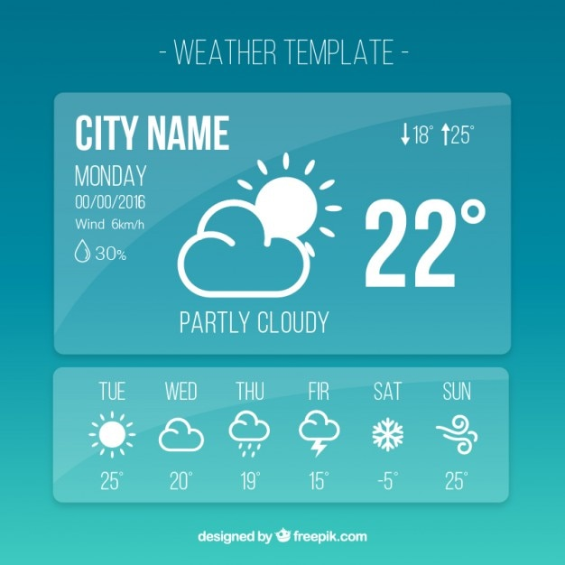 Wetter vorlage app in einfachen stil Kostenlosen Vektoren