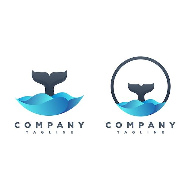 Whale tail logo-paket Premium Vektoren
