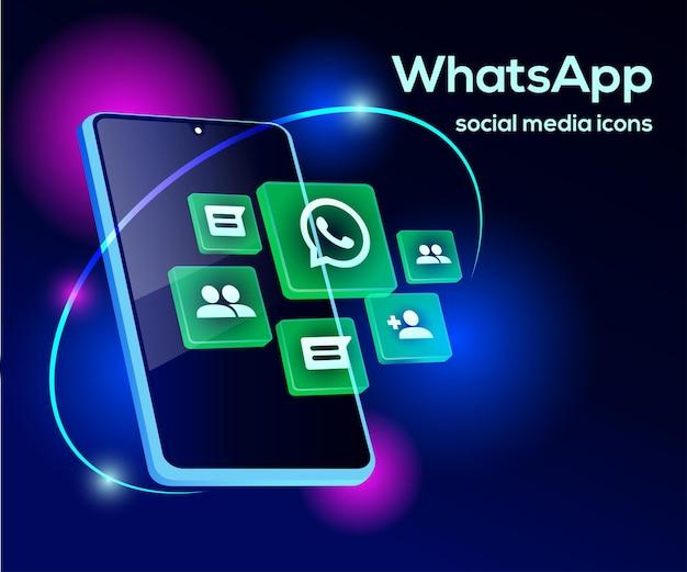 Whatsapp social media icons mit smartphone-symbol Premium Vektoren