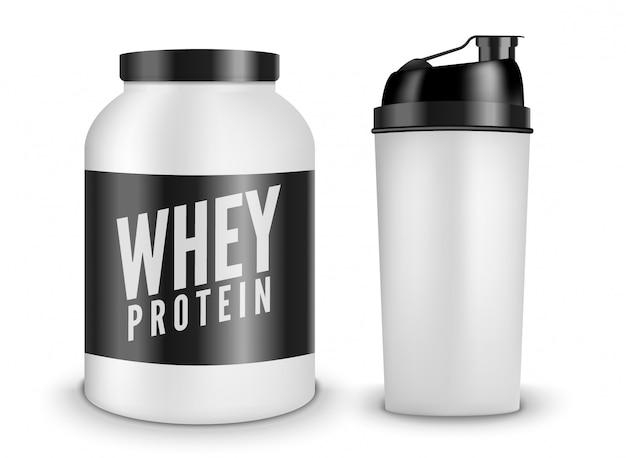 Whey protein bodybuilding ernährung isoliert auf weiß. lifestyle power fitness training sport illustration. shaker flasche. ergänzung für fitnessstudio Premium Vektoren