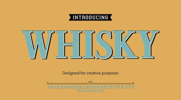 Whisky-schrift. für etiketten und verschiedene schriftarten Premium Vektoren
