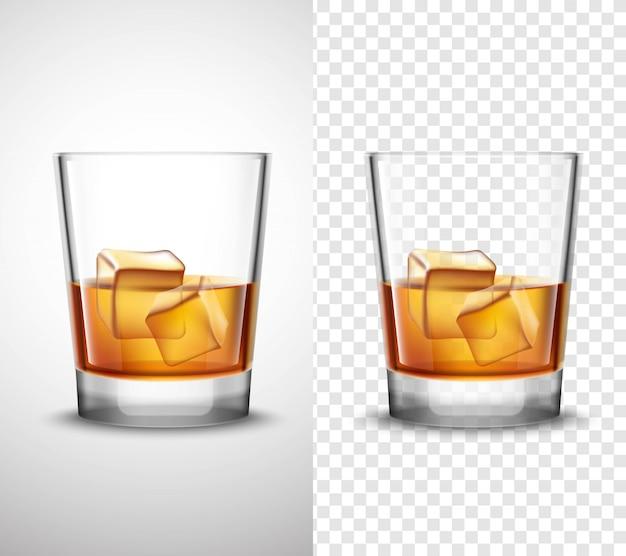 Whisky shots glaswaren realistische transparente banner Kostenlosen Vektoren
