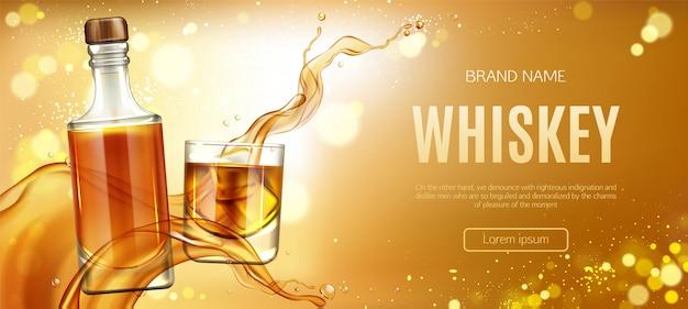 Whiskyflasche und glas mit eiswürfelfahne Kostenlosen Vektoren