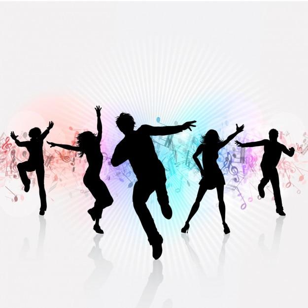 White party hintergrund mit tanzenden silhouetten Kostenlosen Vektoren