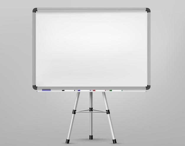 Whiteboard für markierungen auf stativ. leere projektionsfläche, präsentationstafel, leere weiße tafel für die konferenz. office board hintergrundrahmen. vektor Premium Vektoren