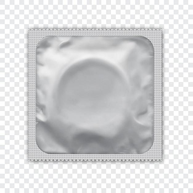 Whiterealistic folienpaket für kondom. Premium Vektoren