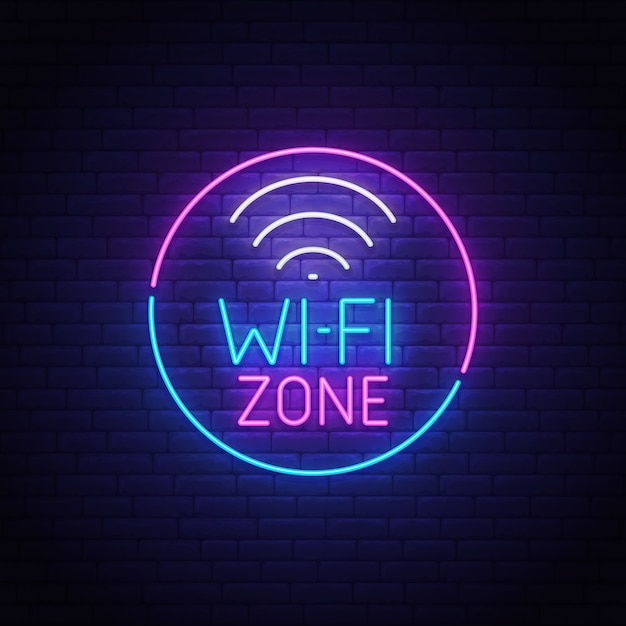 Wi-fi leuchtreklame Premium Vektoren