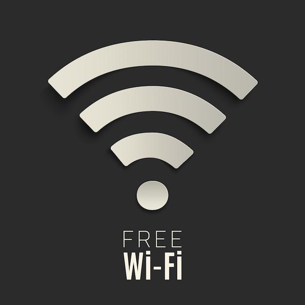 Wi-fi-symbol auf dunklem hintergrund. kostenloses wlan-hotspot-symbol. illustration. Premium Vektoren