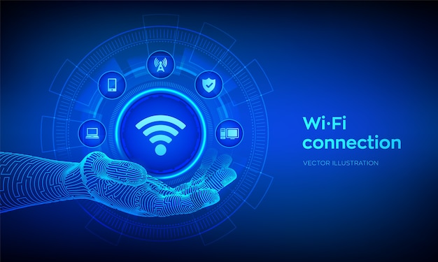 Wi-fi-symbol in der roboterhand. drahtloses verbindungskonzept. kostenloses konzept für die wifi-netzwerksignaltechnologie Premium Vektoren