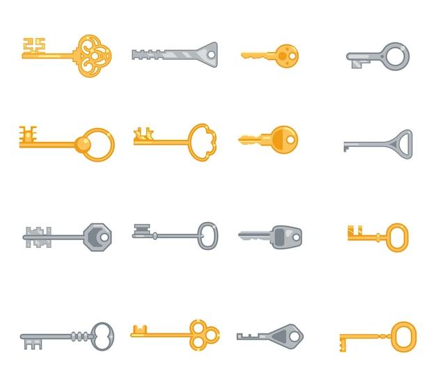 Wichtige flache symbole festgelegt. sicherheit und zugang, metall antik persönlich. vektorillustration Kostenlosen Vektoren
