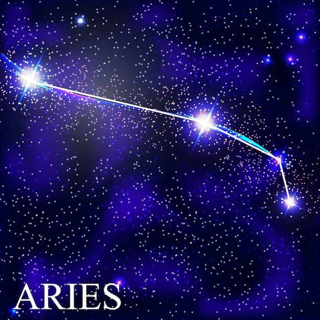 Widder sternzeichen mit schönen hellen sternen auf dem hintergrund der kosmischen himmelsillustration Premium Vektoren