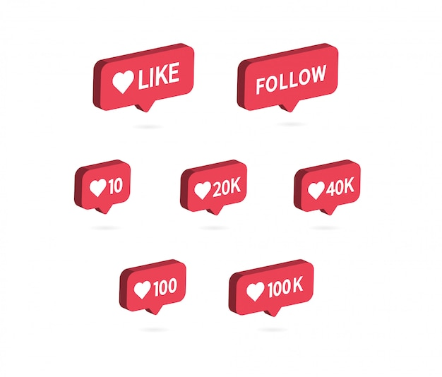 Wie das symbol social media-benachrichtigungssymbol. Premium Vektoren