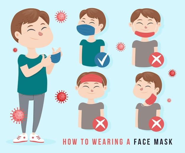 Wie man eine gesichtsmaske trägt (richtig und falsch) Kostenlosen Vektoren