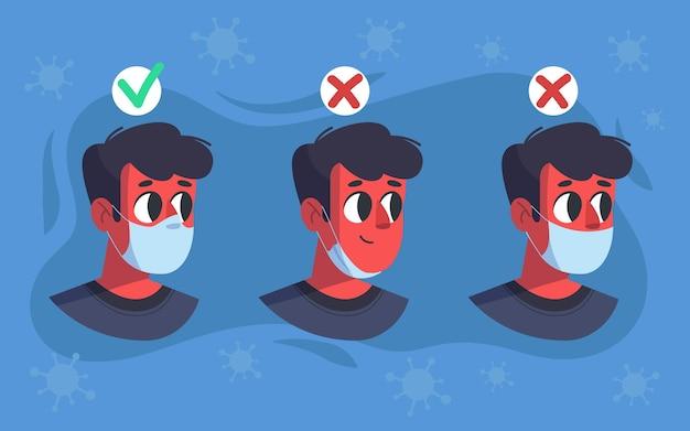 Wie man eine gesichtsmaske trägt (richtig und falsch) Premium Vektoren