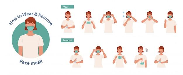 Wie man eine maske richtig trägt und entfernt. frauen präsentieren die richtige methode zum tragen einer maske, um die ausbreitung von keimen, viren und bakterien zu reduzieren. illustration in einem flachen stil Premium Vektoren