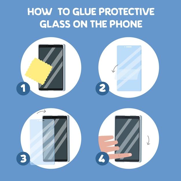 Wie man einen bildschirmglasschutz setzt Premium Vektoren