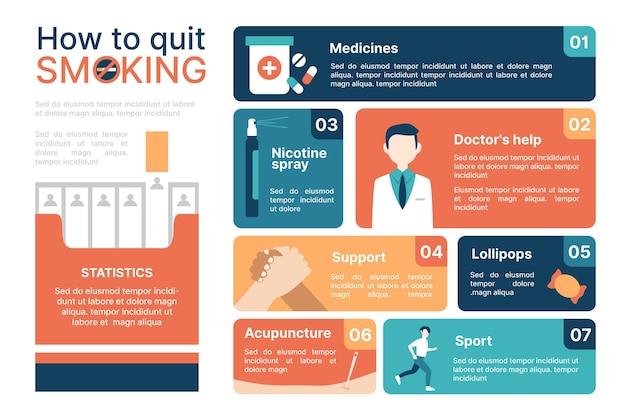 Wie man mit dem rauchen aufhört - infografik Kostenlosen Vektoren