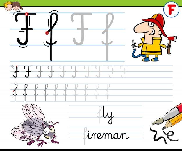 Wie schreibe ich F-Arbeitsblatt für Kinder | Download der Premium Vektor
