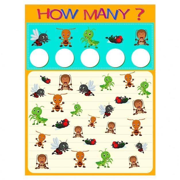 Wie viele arbeitsblätter mit vielen insekten Premium Vektoren