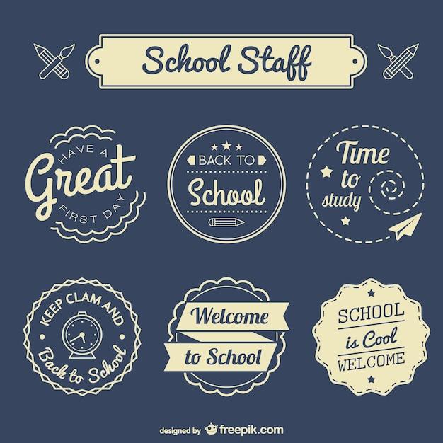 Wieder in die schule abzeichen eingestellt Kostenlosen Vektoren