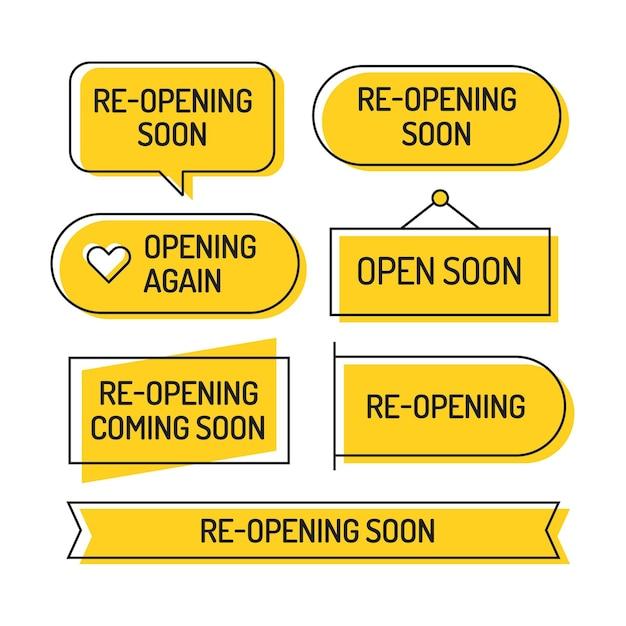 Wiedereröffnung bald abzeichen Kostenlosen Vektoren