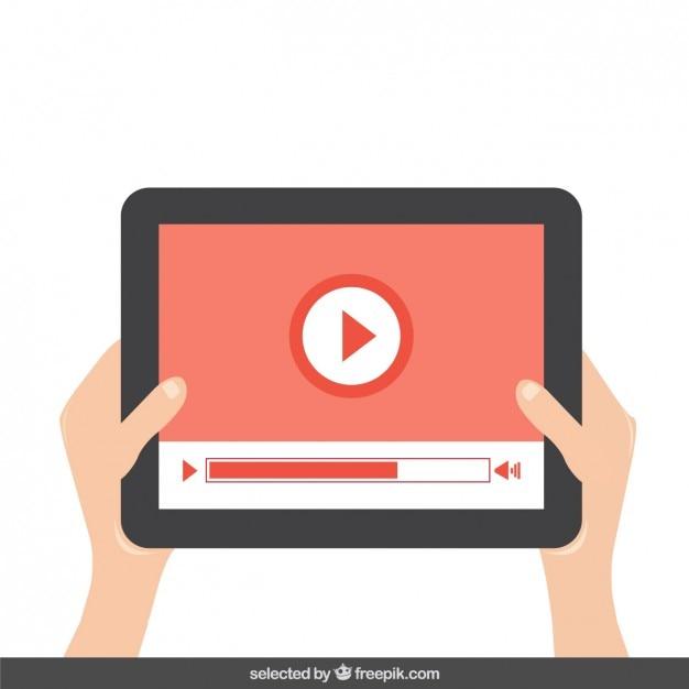 Wiedergabe von video auf dem tablet Kostenlosen Vektoren