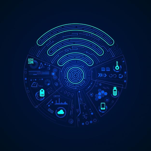 Wifi schild mit digitaler kommunikationsschnittstelle Premium Vektoren