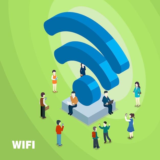 Wifi verbundenes konzept im isometrischen flachen 3d-design Premium Vektoren