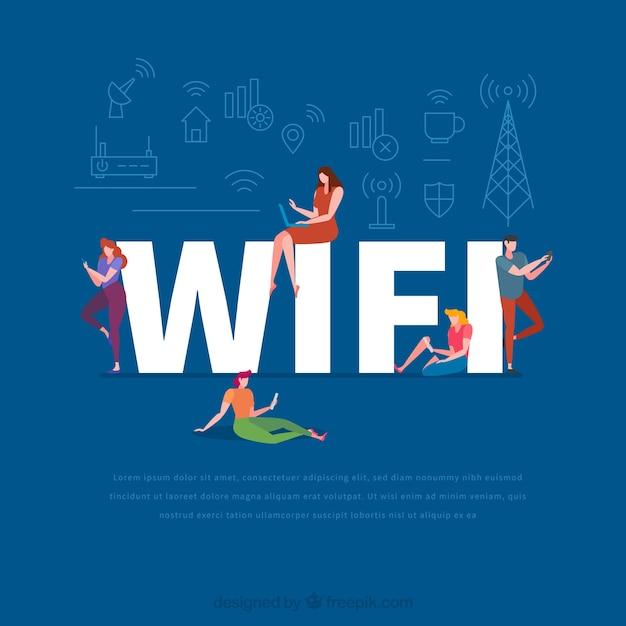 Wifi-wort-konzept Kostenlosen Vektoren