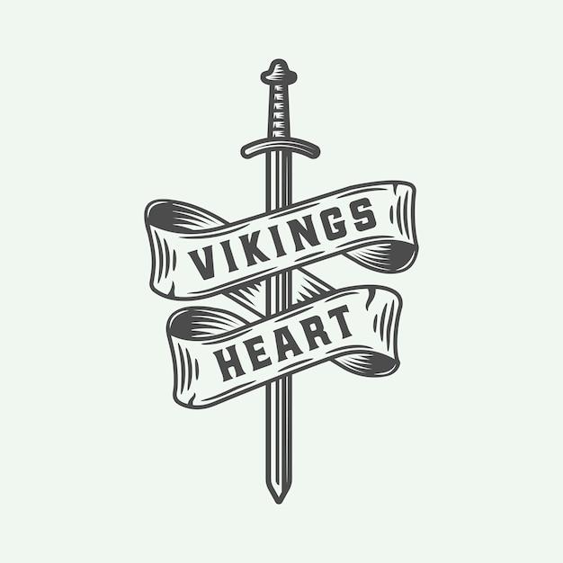 Wikinger herz emblem mit schwert Premium Vektoren