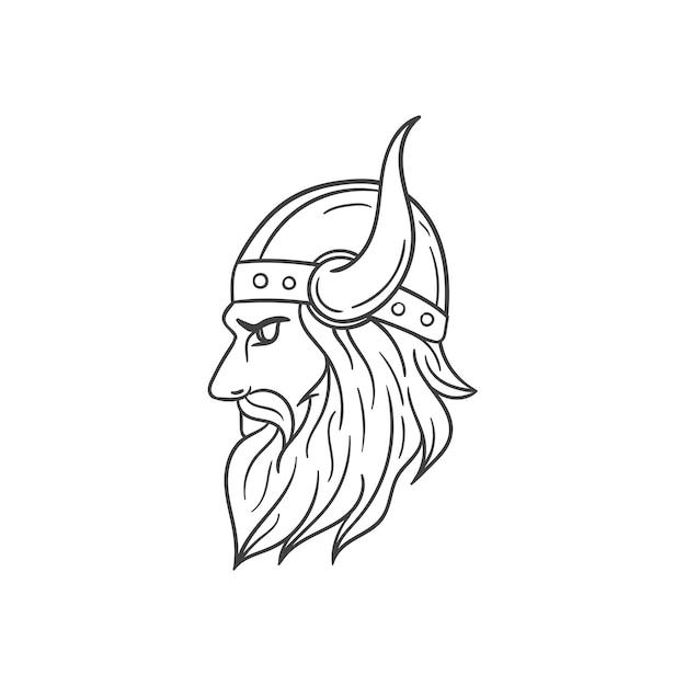 Wikinger Kopf Umriss Illustration   Download der Premium Vektor