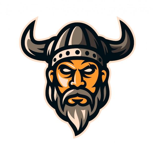 Wikinger krieger ritter logo maskottchen Premium Vektoren