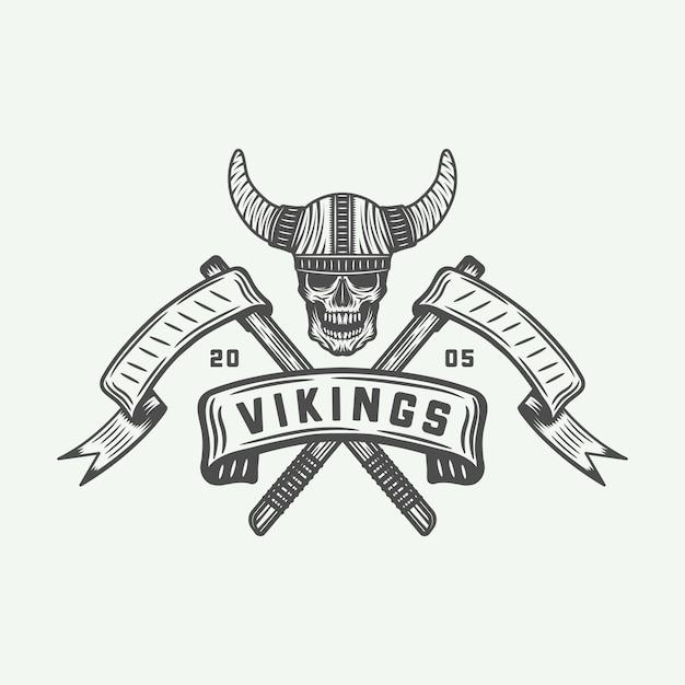 Wikinger-logo, etikett Premium Vektoren